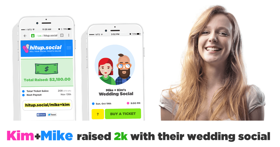 Kim + Mike raised 2k at their wedding social using hitup.social - sign up now